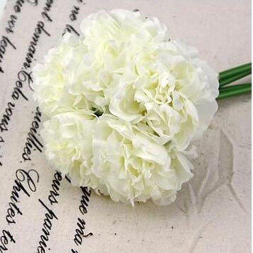 White Wedding Rose Peony Silk Flowers Bouquet Single Arrangements Artificial Decor (Single Aerosol Can Holder compare prices)