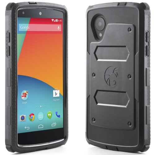 i-Blason Armorbox for Google Nexus 5 by LG Dual Layer Hybrid Full-body Protective Case with Front Cover and Built-in Screen Protector and Impact Resistant Bumpers (Black) (Phone Cover Nexus 5 compare prices)