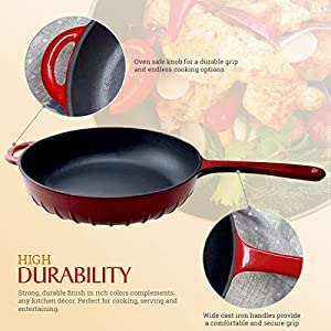 Enameled Cast Iron Fry Pan, Metallic Red (10 inch) - Utopia Kitchen