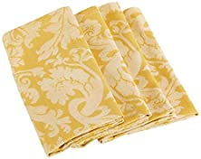 """buy Mahogany T28Gnp """"Large Damask Gold"""" Jacquard Weave Napkin, 19 By 19-Inch, Gold, Set Of 4"""