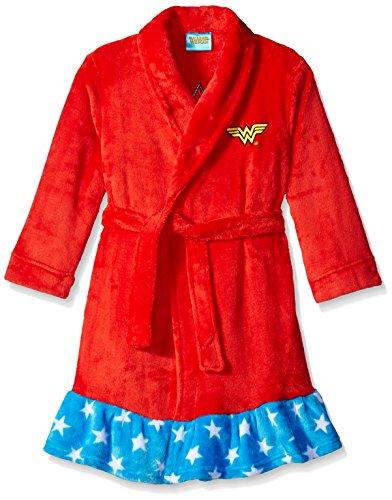 DC Comics Big Girls' Wonder Woman Velvet Fleece Robe, Red, Small