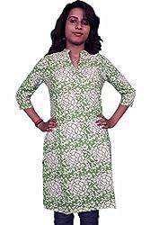 Miraaya Women's Cotton Kurti (M2172A_GREEN_Green_X-Small)