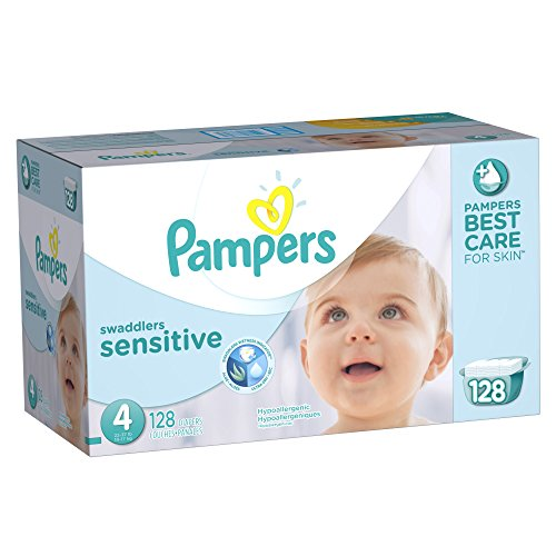 Pampers Swaddlers Sensitive Diapers Size 4 Economy Pack Plus 128 Count - 1