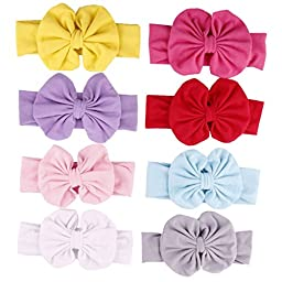 Qandsweet Baby Girl Elastic Headbands with Hair Bows (4.5\