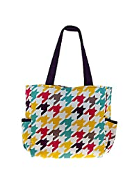 Printed Shopping Bag, 3 Pockets, Satin Lining, Zipper Closing