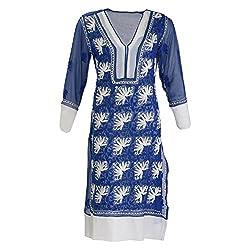 AKS Lucknow Women's Faux Georgette Regular Fit Kurti