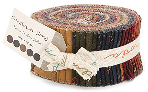 "Moda SUNFLOWER SONG Jelly Roll 2.5"" Precut Cotton Fabric Quilting Strips Assortment Kansas Troubles 9480JR"