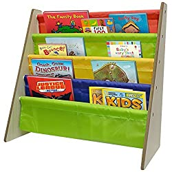 Sorbus Kids Bookshelf - Bright Primary Color Pockets Toddler Bookcase