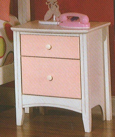 Cheap Kid's Antique White & Pink Nightstand Bedside Table (VF_HEB23-4)