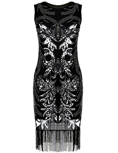 PrettyGuide Women's 1920s Gatsby Art Deco Sequin Beads Fancy Flapper Dress
