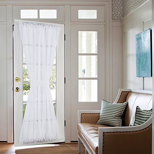 Nicetown Elegant Soild Voile French Door Curtain Panels - One Piece With Bonus Tieback, 60