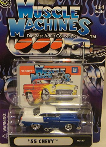 MUSCLE MACHINES 1:64 SCALE #03-27 BLUE AND WHITE '55 CHEVY DIE-CAST - 1