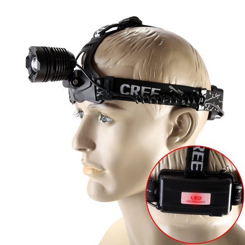 Tomtop 2000 Lumen Cree Xm-L Xml T6 Led Rechargeable Headlight Zoomable Headlamp Zoom In/Out