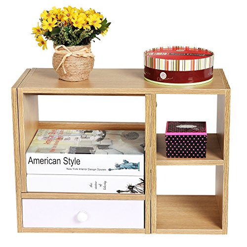 Wooden Adjustable Width Desktop Office Supply Organizer Book Case Shelf Storage Rack w/ Drawer
