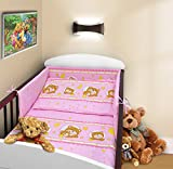 COT BUMPER 100 COTTON PADDED FOR BABY FIT COT 120x60 140x70 STRAIGHT 190cm to fit cot 140x70cm Teddy Window Pink
