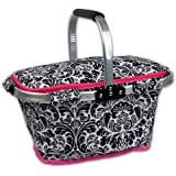 DII Insulated Market Basket or Picnic Tote for Perfect for Summer Picnics, Farmers Markets and BBQ's, Grocery Shopping Damask, Black/White