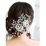 Vktech ウェディング花嫁 髪 飾り パール ヘッド ドレス ヘアピン ヘアの櫛 披露宴 結婚式