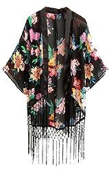 Summer Retro Women Ethnic floral tassels Kimono Cardigan Jacket Coat S M L