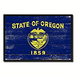 Oregon State Shabby Chic Flag Art Canvas Print Custom Picture Frame Office Wall Home Decor Gift Ideas, 19\