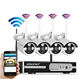 [Unbeatable Price]Smonet 4CH 720P Wireless Home Surveillance Security Camera System,4pcs 1.0MP WIFI Bullet IP Cameras,Support Motion Detection Alarm and Remote View by ISO or Android App,No Hard Drive