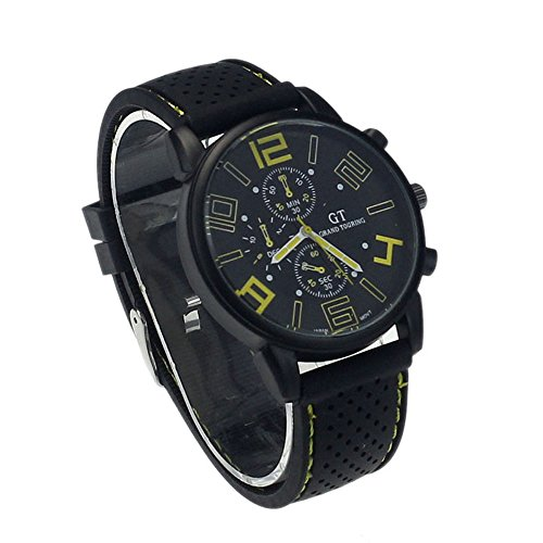 Zps(Tm) New Mens Stainless Steel Luxury Sport Analog Quartz Clock Wrist Watch Yellow