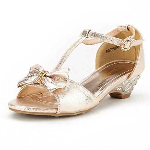 [Dream Pairs SweetHeart-22 Angel Mini Rhinestone Embellishment Strap Closure Low Heel Pumps Sandals Shoes(Toddler/ Little Girl) New GOLD SZ] (Sweetheart Girl)