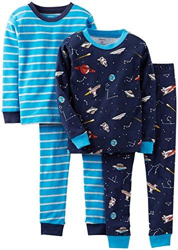Carter'S Baby Boys' 4 Piece Pj Set (Baby) - Blue Stripe - 6 Months front-276375