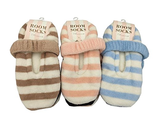 【ルームソックス 3点セット】リボン モコモコ ソックス 靴下 冷え性 あったか ピンク ブルー ブラウン (セット C)