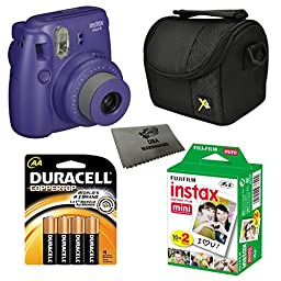 Fujifilm Instax Mini 8 Instant Film Camera 5-in-1 Set + Fuji Film Instant Film Twin Pack (Total 20 Sheets) + Compact Camera Case + Pack of AA Batteries + Lens Cleaner Cloth Bundle (Grape)