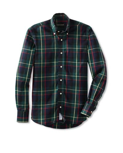 Kenneth Gordon Men's Plaid Shirt with Button-Down Collar  [Green/Yellow/Red]