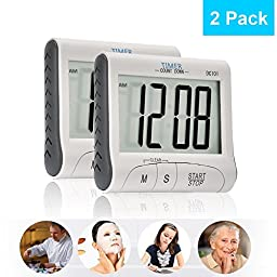 2 Pack Senbowe™ Digital Kitchen Timer/ Cooking Timer with Large Display Screen, Loud Sounding Alarm, Strong Magnetic Backing, Retractable Stand
