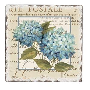 CounterArt Blue Hydrangeas Tumbled Tile Trivet, 6-Inch by CounterArt
