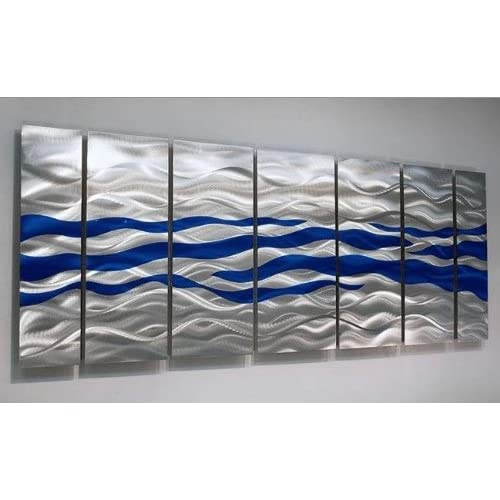 Silver & Blue Modern Metal Wall Painting -Abstract Contemporary Home Decor Accent and Wall Art - Caliente Blue by Jon Allen