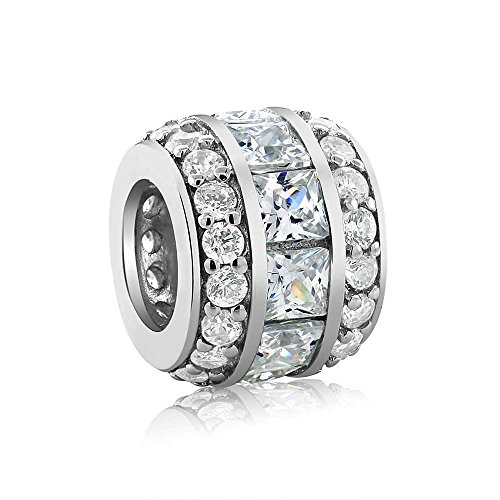 Sterling Silver Cubic Zirconia 12X9MM Bead Charm Compatible W/ Pandora Bracelets (Gem Stone King Bead Bracelet compare prices)