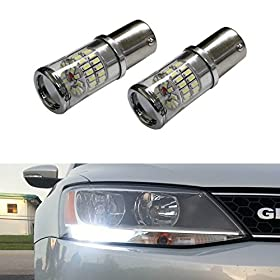 iJDMTOYu00ae (2) CANbus Error Free HID White 1156 Mirror Reflector LED Bulbs for Volkswagen MK6 Jetta Daytime Running Lights