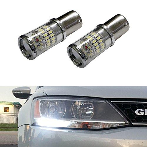Ijdmtoy® (2) Canbus Error Free Hid White 1156 Mirror Reflector Led Bulbs For Volkswagen Mk6 Jetta Daytime Running Lights
