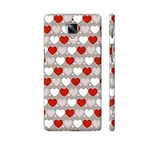 Colorpur White And Red Hearts Pattern Artwork On OnePlus 3 Cover (Designer Mobile Back Case) | Artist: Designer Chennai