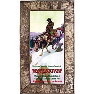 Rivers Edge Products Framed Birch Bark Winchester Rider Canvas Print