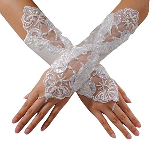 CLOCOLOR Women's Beaded Pearls Fingerless Satin Lace Bridal Gloves for Wedding