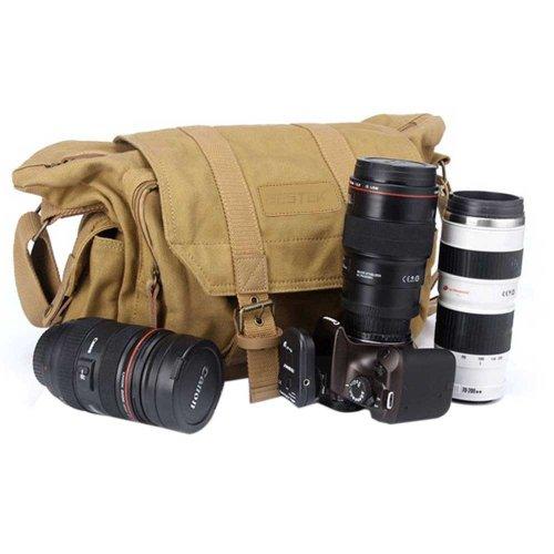 BESTEK キャンバス素材一眼レフ用カメラバッグ ショルダーバッグ 防水仕様 iPad入り可 BTDB01