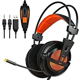 LETTON G7 New Model 3.5mm Over-Ear PU Wired Stereo Gaming Headsets Headphones with Microphone LED Volume Control for PC Computer Gamer (Black and Orange)