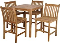 Hot Sale Amazonia Teak Eden 5-Piece Teak Bar Set