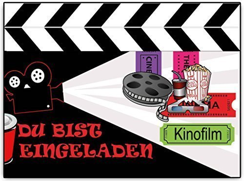 einladungskarten kindergeburtstag kino kinoparty film 8 st ck zum ausf llen. Black Bedroom Furniture Sets. Home Design Ideas