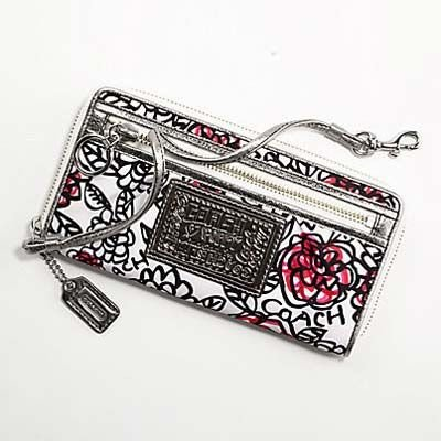 Coach Limited Edition Poppy Graffiti Flower Floral Zip Around Wallet Black White Multi