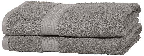 AmazonBasics - Set di 2 asciugamani da bagno che non sbiadiscono, colore Grigio