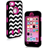 myLife (TM) Hot Pink + Black Zig Zag Style 3 Layer (Hybrid Flex Gel) Grip Case for New Apple iPhone 5C Touch Phone... by myLife Brand Products