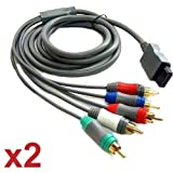 Skque Nintendo Wii AV Audio Video Component Cable Lot x 2 Bundle Kit Set, 56 in / 142 cm