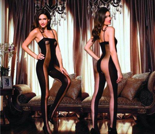 Frauen Hot sexy Dessous schwarz Fischnetz Strumpfhose Schritt offen Nachtwäsche