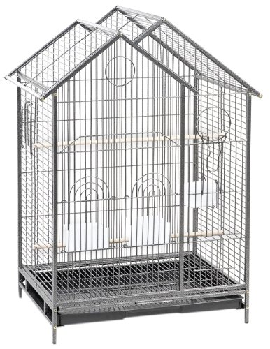 Cage Connection Contemporary House Bird Cage with Platform Door,  Gun Metal Grey