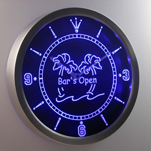 Nc0371-B Bar Is Open Palm Tree Neon Sign Led Wall Clock